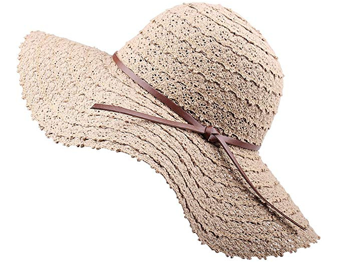 Elonglin Womens Wide Brim Beach Hat Sun Hat Brim Foldable with Lace Flower Beach Cap Anti-Sunlight Anti-UV